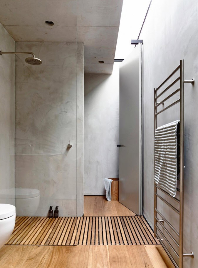 microcement and concrete in the bathroom combined with wood