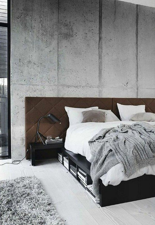 concrete panels in bedroom