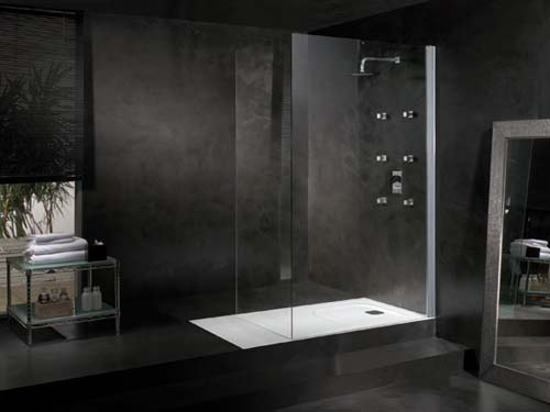 black coloured microcement bathroom