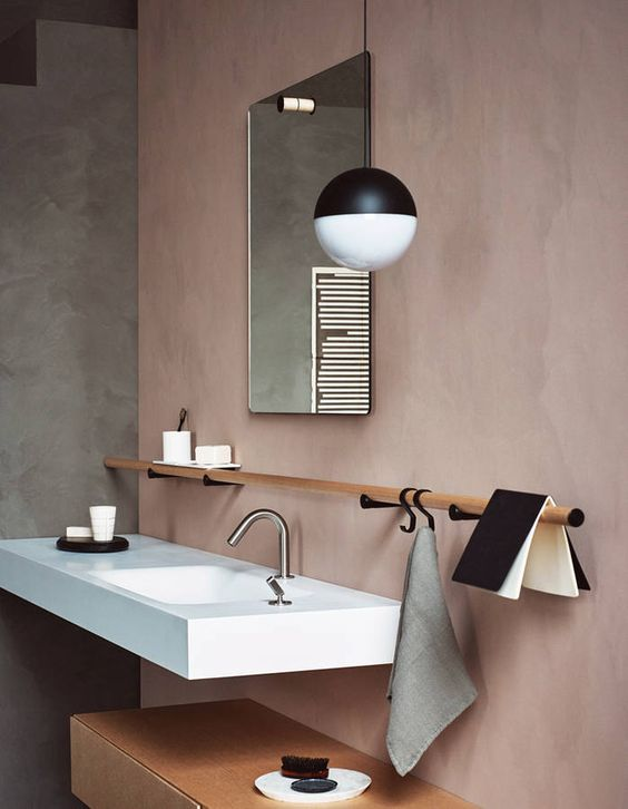 dusted pink coloured microcement bathroom