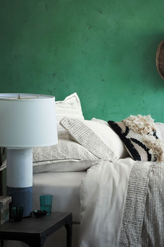 green coloured microcement bedroom