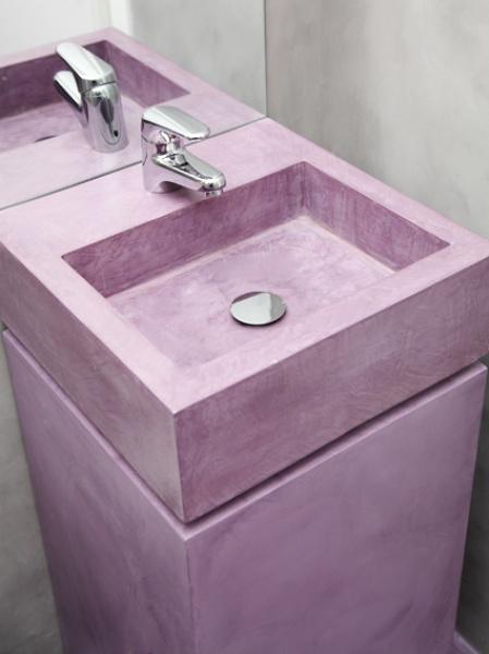 purple coloured concrete washbasin