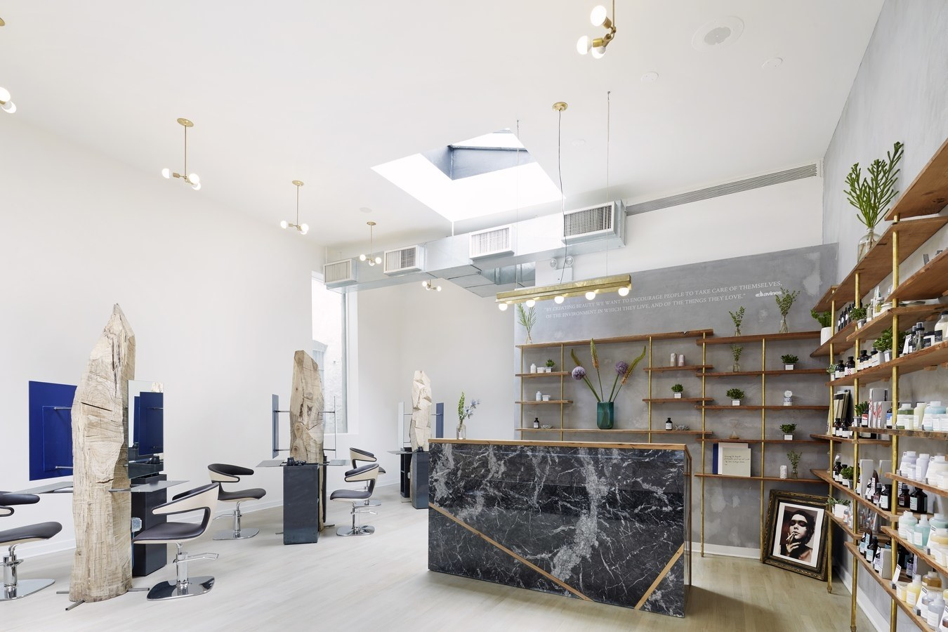 hairdressing salon design ideas interior decoration in interior stylists new york Microcement in a hair salon