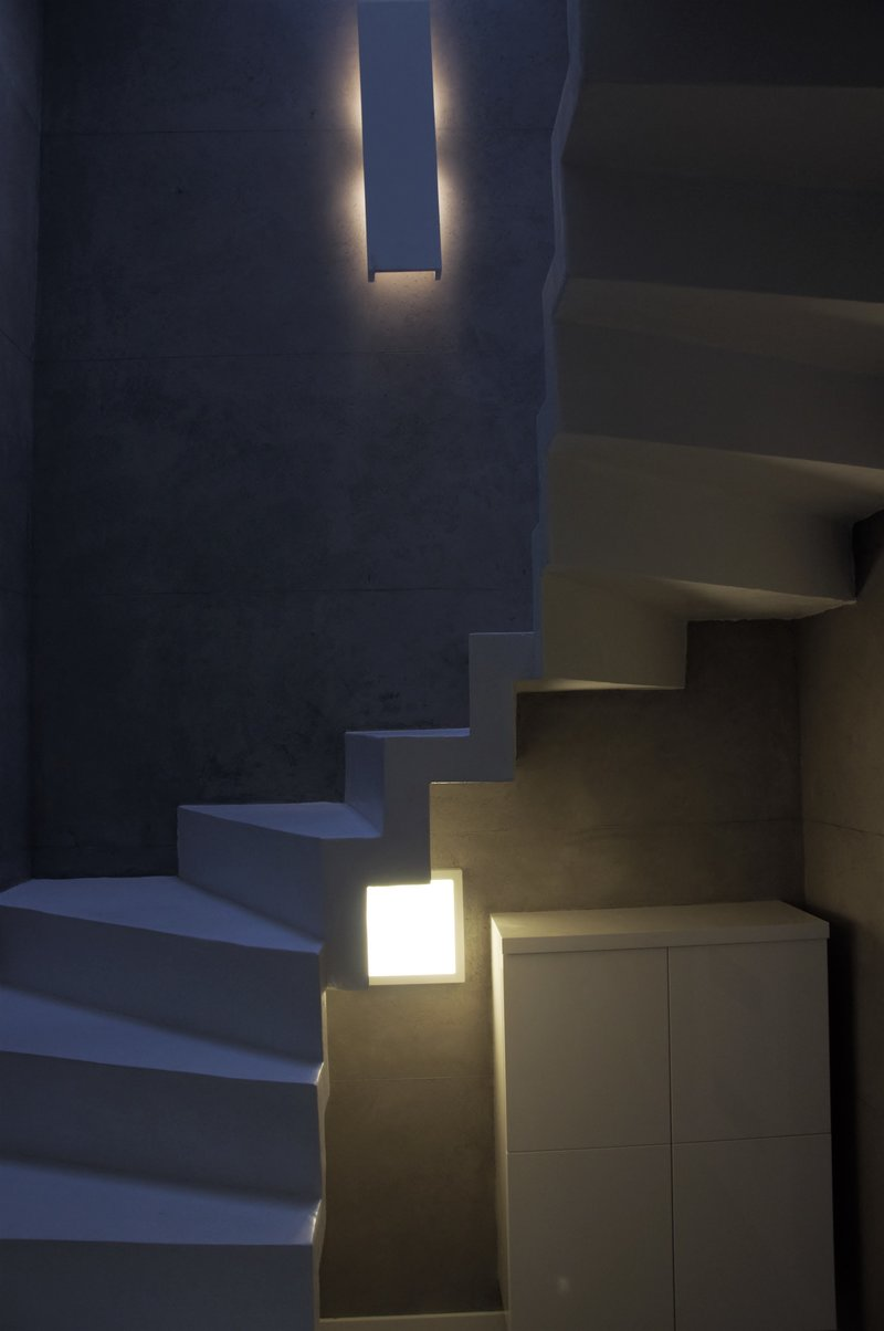 white microcement stairs