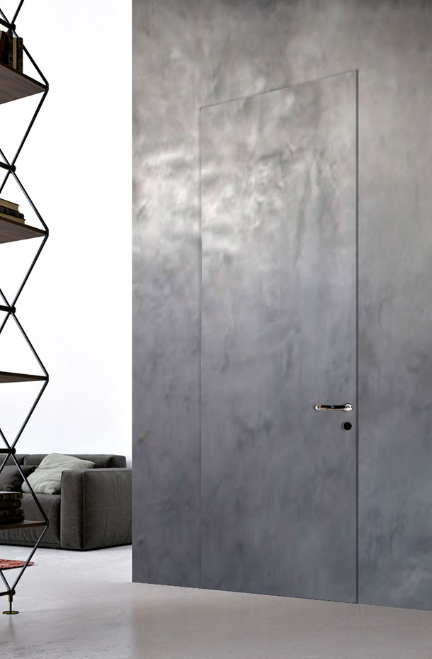 door with hidden frame coated with microcement (photos)