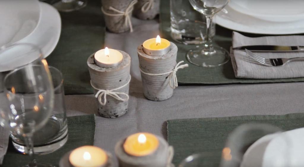 Concrete candlesticks