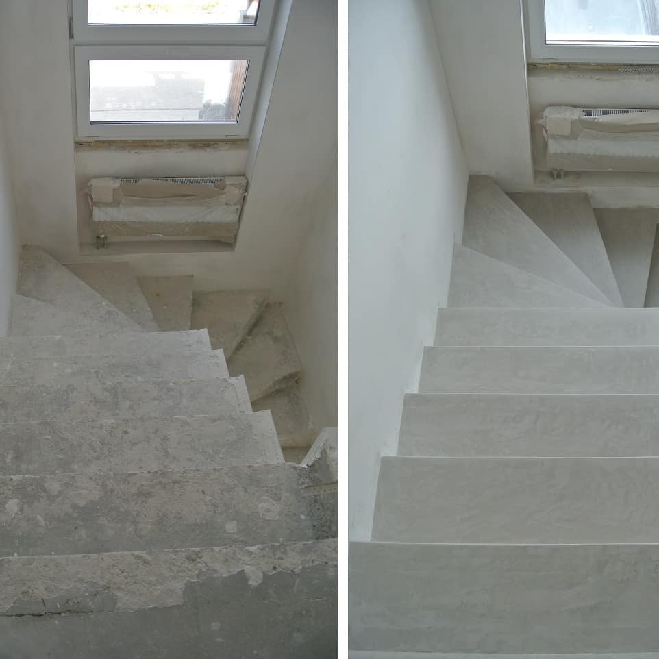 microcement stairs before and after