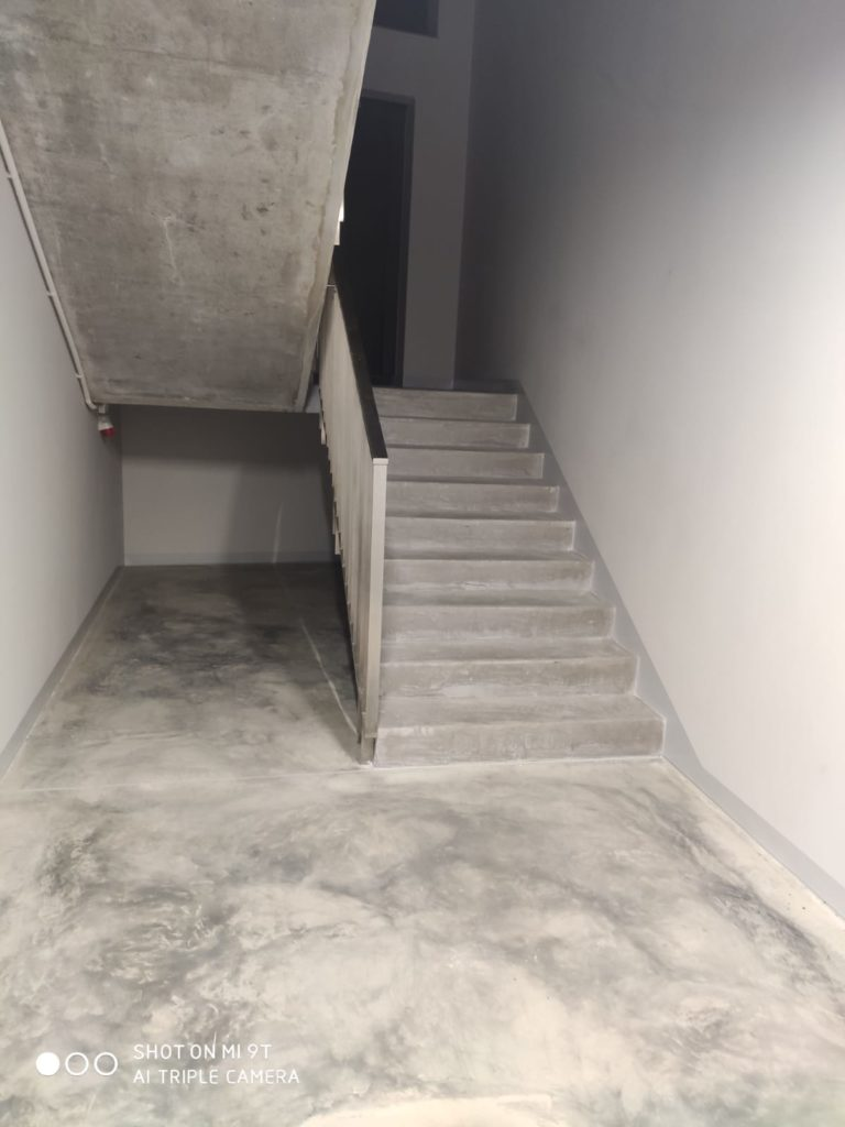 Microcement floor and stairs in a museum
