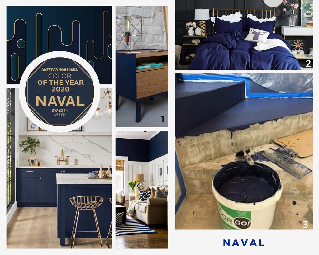 Najmodniejsze kolory 2020: naval - niebieski mikrocement kolor