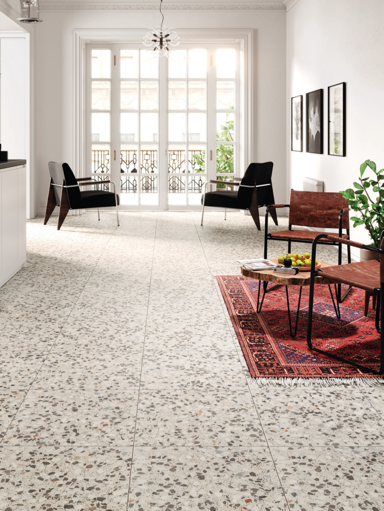 terrazzo flooring in a living room