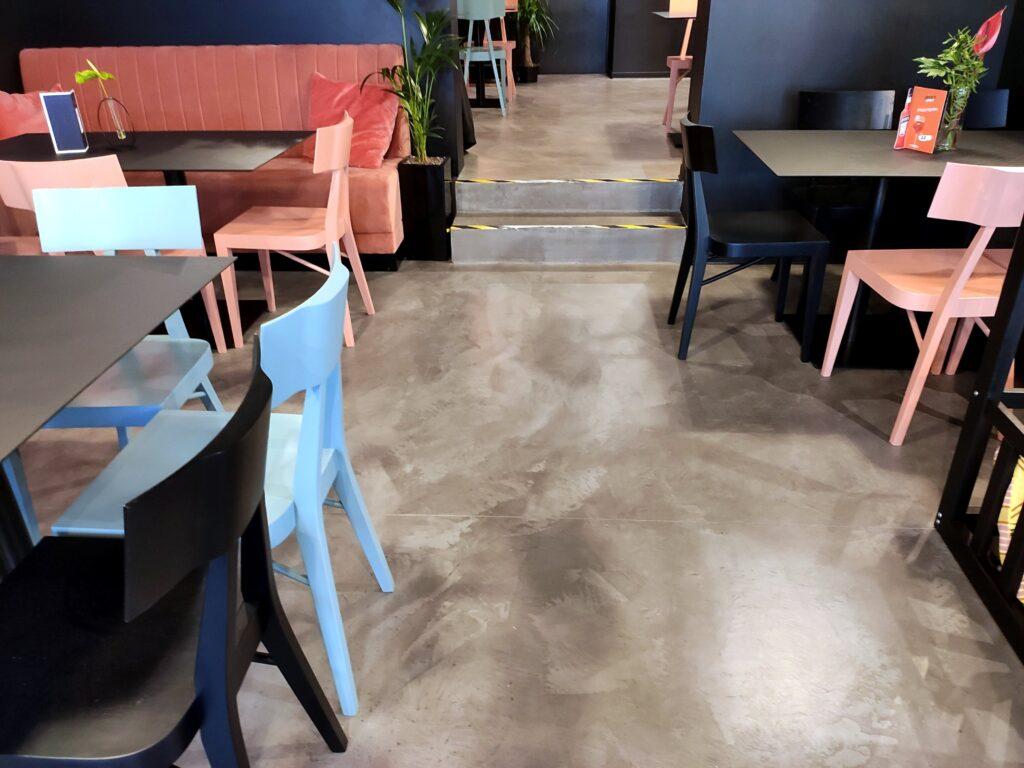 concrete floor in a restaurant