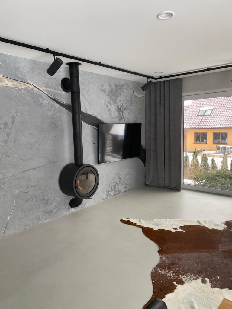 concrete microcement flooring at home