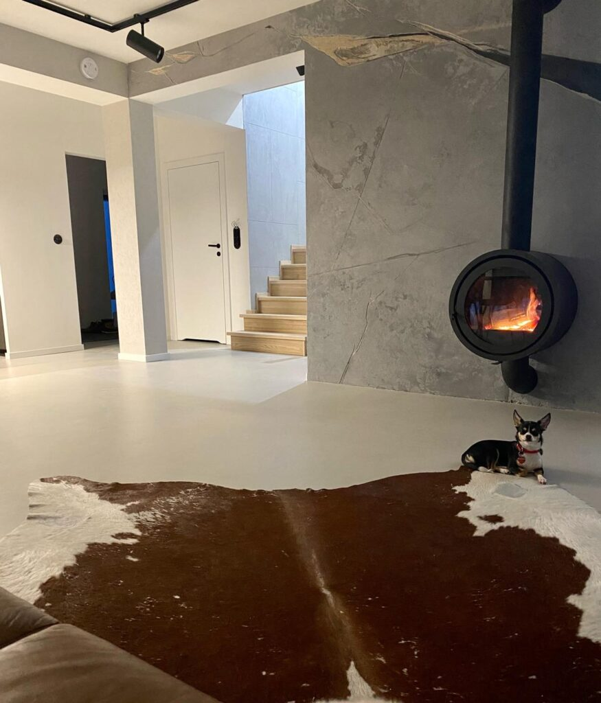 concrete floor at home - living room