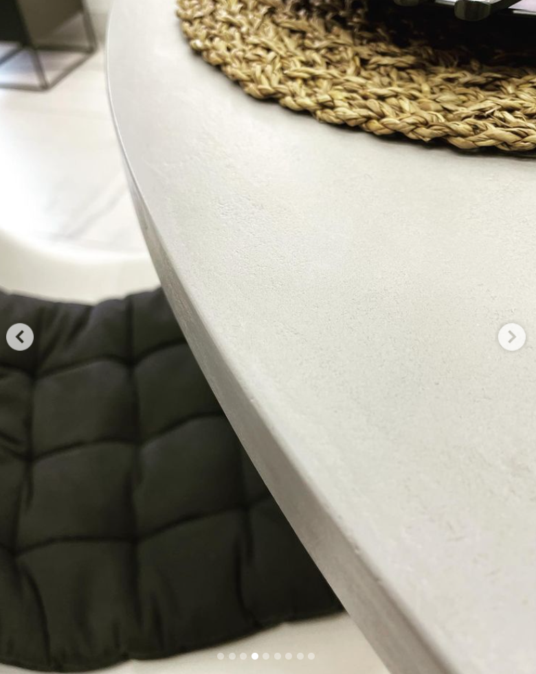 table with microcement top